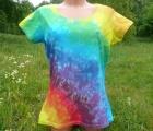 Dámské batikované tričko Duhový květ, XL