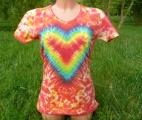Dámské batikované tričko Srdce v jahodách, L-XL