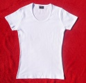 Bílé bavlněné tričko dámské - vysoká gramáž - výstřih U