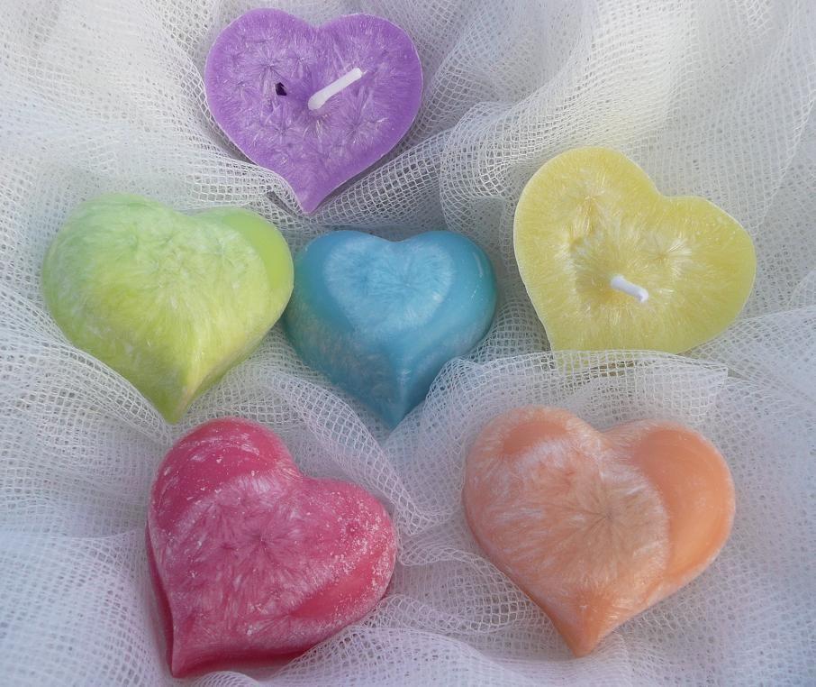 Plovoucí svíčky srdce Barvy duhy