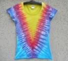Dámské batikované tričko Véčko tyrkys, L Šťastní lidé-M