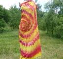 Velký šátek Oranžový, batika, 150x135cm