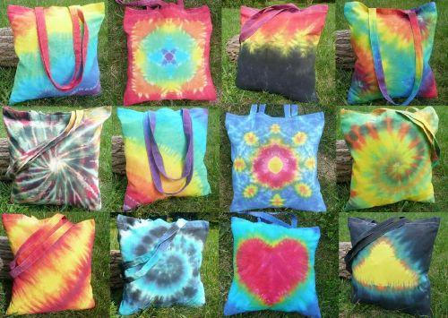Látková tašky batikované Duhové tričko