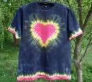 Batikované tričko Červené srdce XL