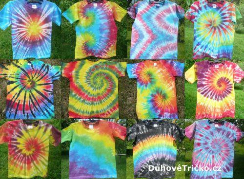 Dětská barevná batikovaná veselá trička