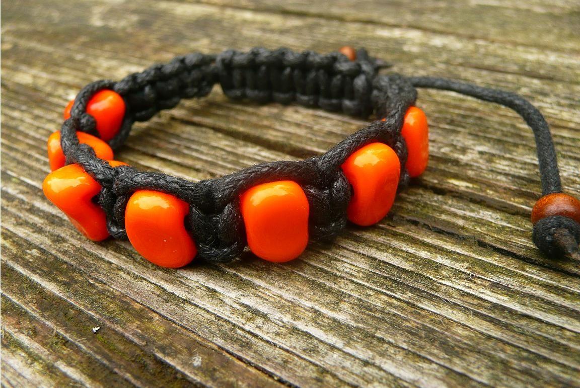 Náramek z vinutých perel Oranžový Šťastní lidé-M
