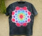 Batikované tričko Mandala v černé, XXL
