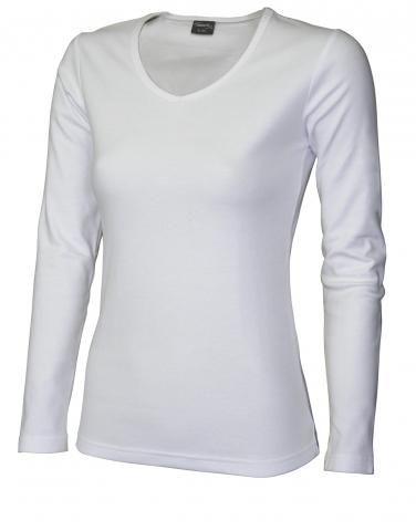 Bílé tričko s dlouhým rukávem véčko