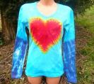Dámské tričko Srdce v tyrkysu, batika, L-XL