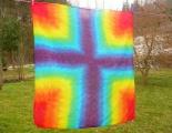 Šátek Duhový kříž, originální batika, 92x82cm