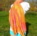 Šála přírodní Meruňková, batika 170x80 Šťastní lidé-V