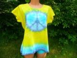 Dámské tričko Hippies, ruční batika, XL