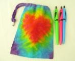 Sáček látkový S - duhová batika Srdce