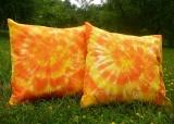 Batikovaný povlak na polštářek 40x40 Oranžový - SADA (2ks) Šťastní lidé-M