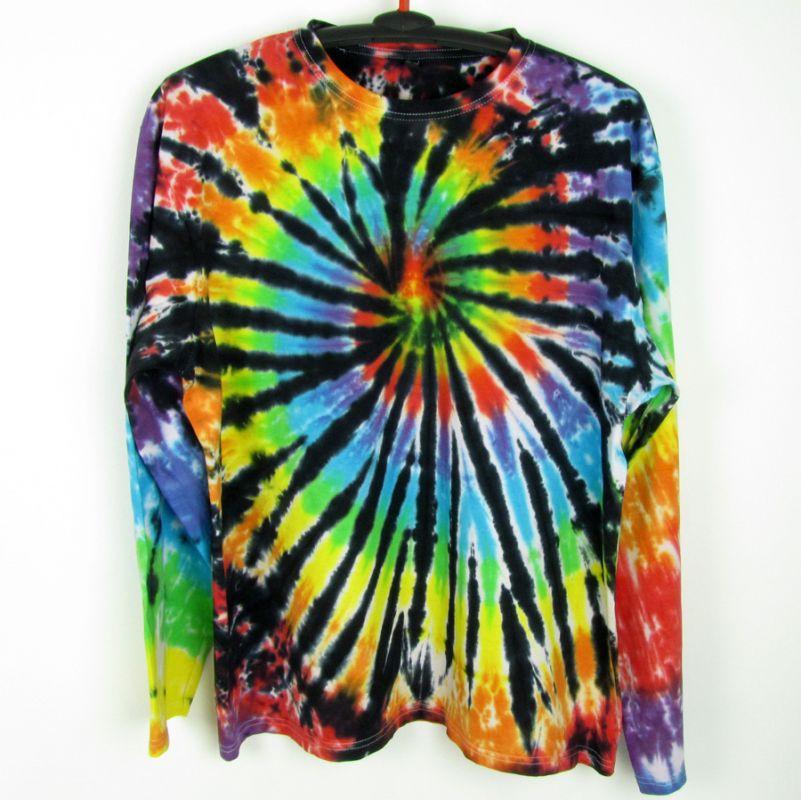Batikované tričko duhové Rebel XXL dlouhý rukáv Šťastní lidé-V