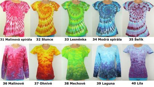 Batikovaná trička jeden odstín