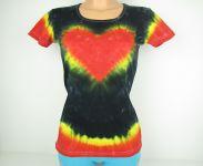 Dámské tričko Srdce v černé, batika M