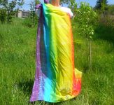 PAREO šátek velký batika DUHOVÝ, 140x120cm