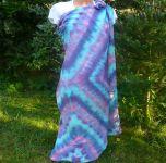PAREO MODRÁ MAGIE - velký šátek batika, 135x135 cm