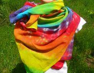 PAREO šátek velký batika DUHOVÁ SPIRÁLA, 140x120cm