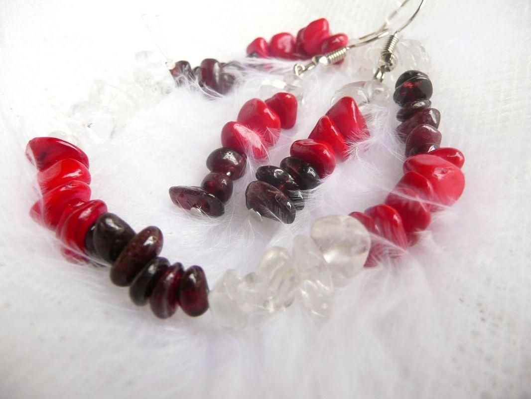 Šperky z drahých kamenů křišťál granát