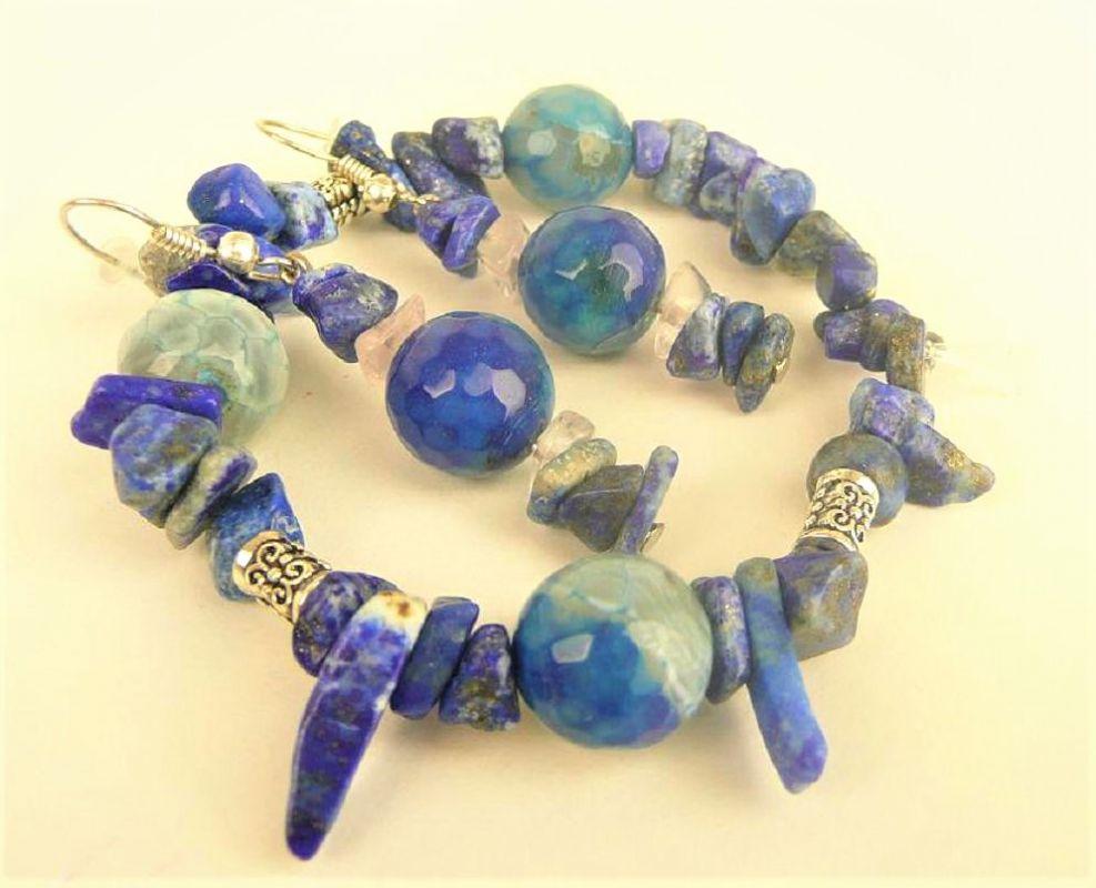 Lapis lazuli náušnice náramek