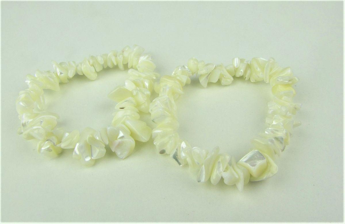 Perleť opalizující náramek bílý