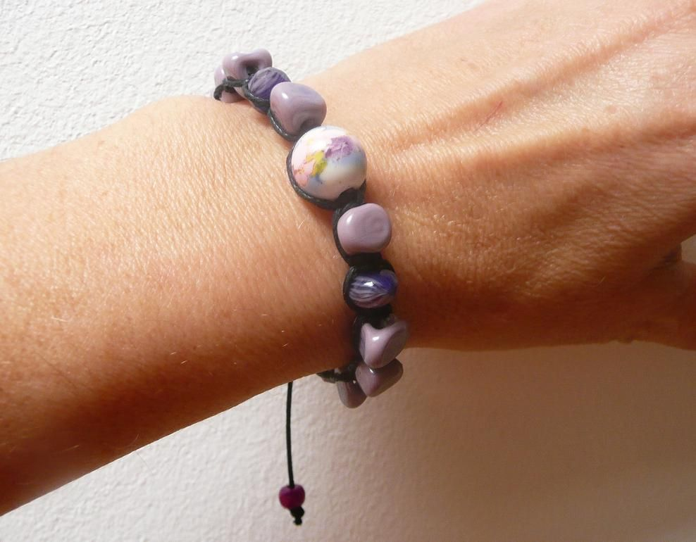Náramek z vinutých perel Šeříkový