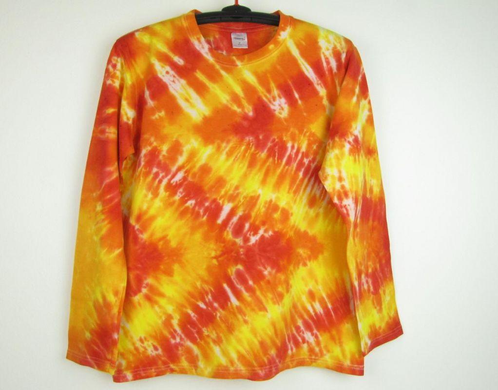 Batikované tričko Ohnivý cikcak