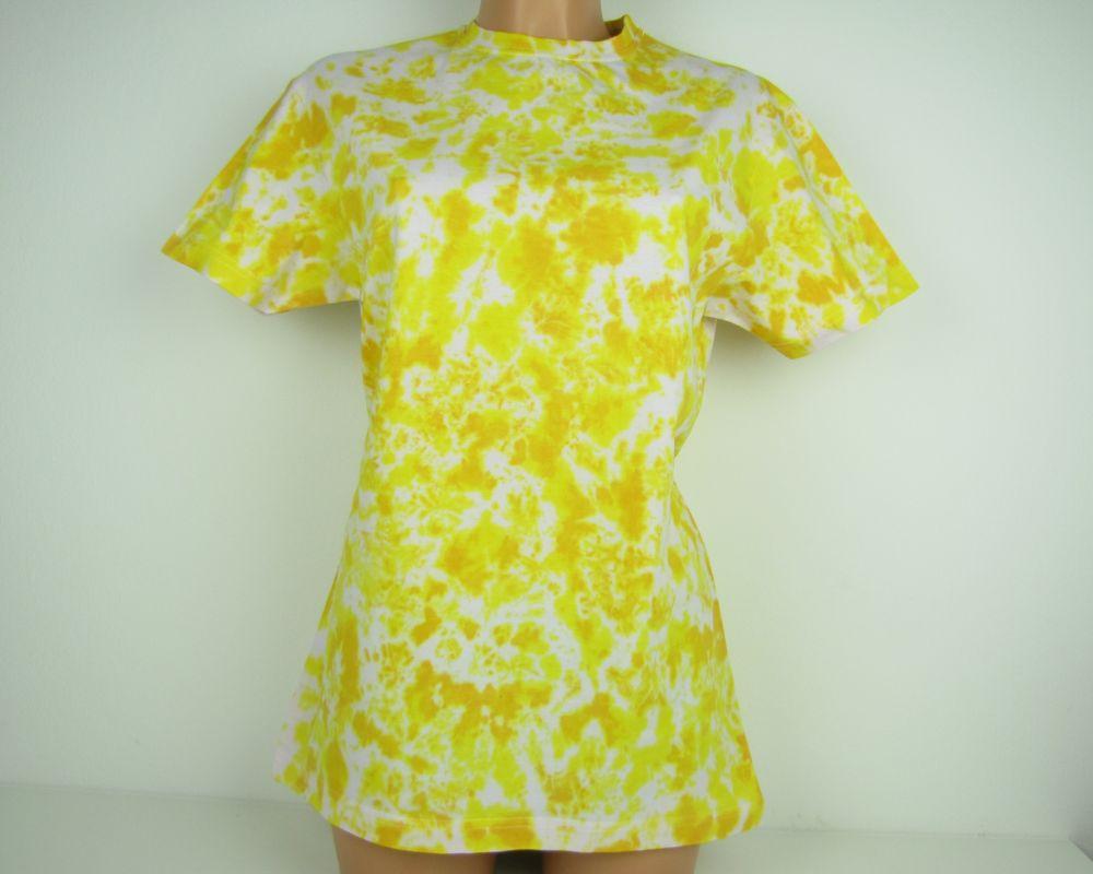 Batikované tričko žluté Citrín
