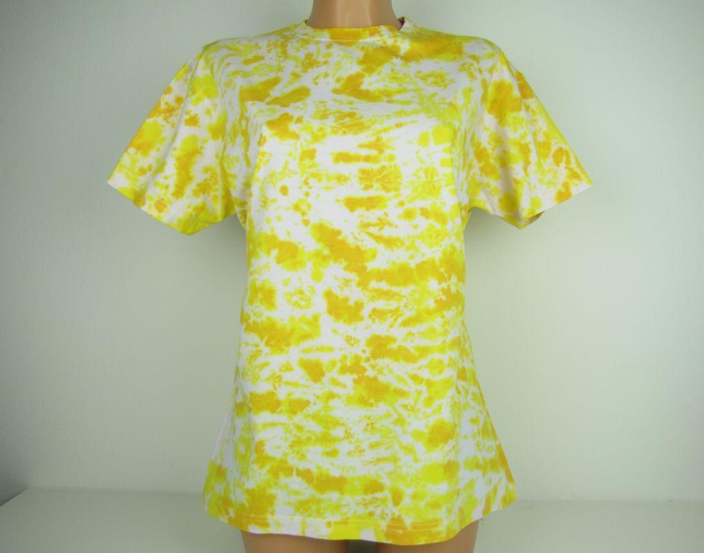 Žluté batikované tričko