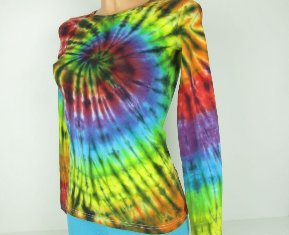 Duhové tričko batika XS