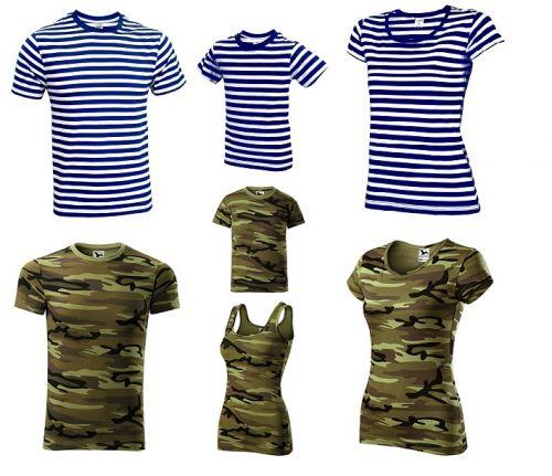 Námořnická trička pro vodáky a maskáčová trička do přírody