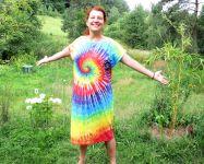 Letní šaty batika Duhová spirála