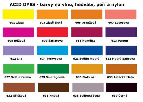 Barvy na vlnu-hedvábí-peří a nylon-vzorník