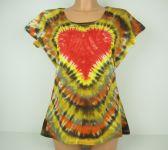 Dámské tričko Žhavé srdce přírodní, batika L-XL