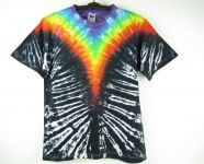 Batikované tričko Duhové véčko v černé, L