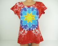 Dámské batikované tričko Červená mandala, L-XL