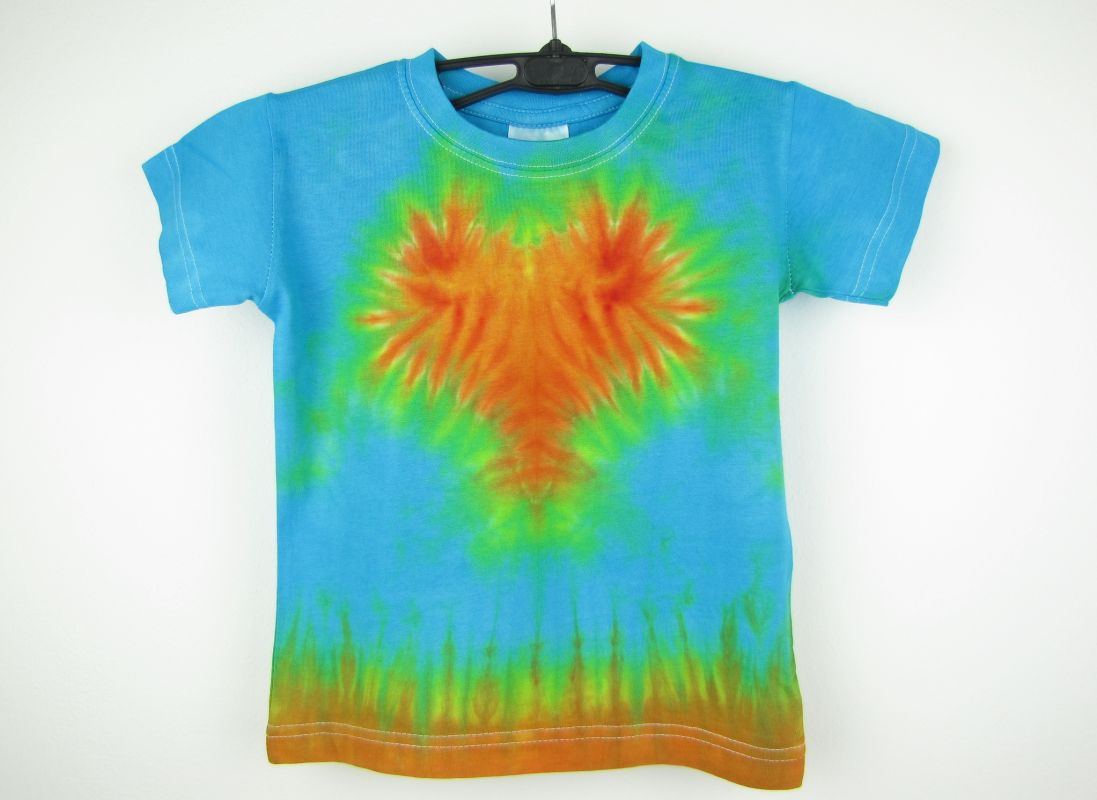 Batikované tričko dětské srdíčko tyrkys