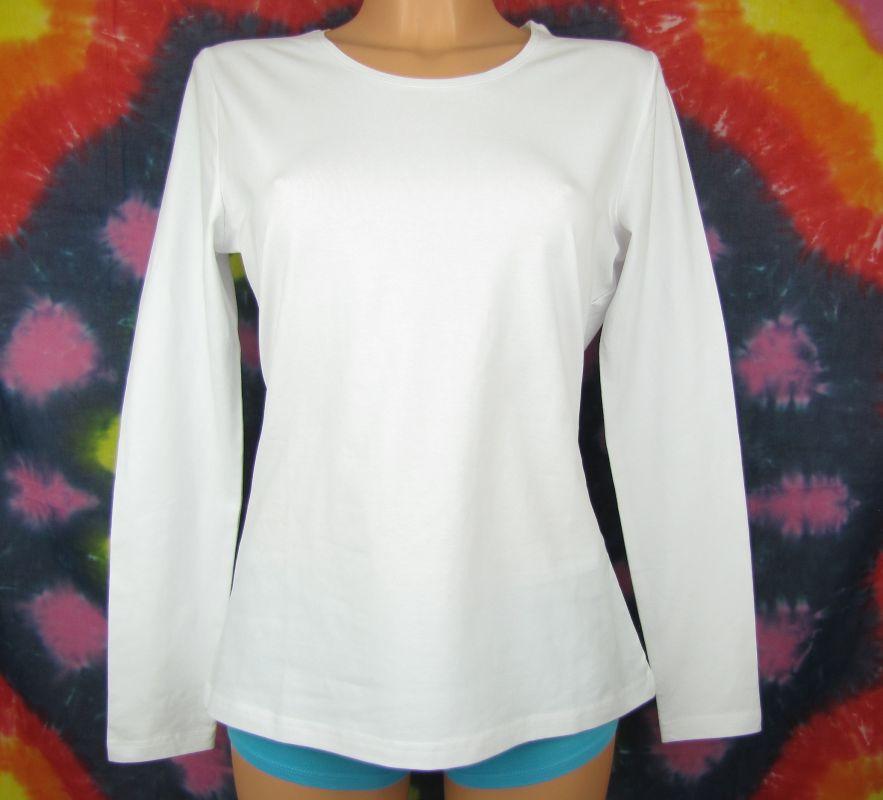 Kvalitní tričko bílé dámské dlouhý rukáv