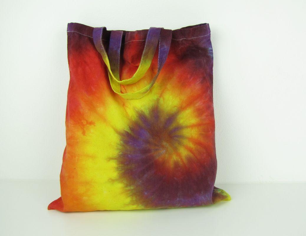 Látková taška batika Ohnivá spirála