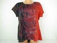 Dámské tričko červené batika Black red, 3XL