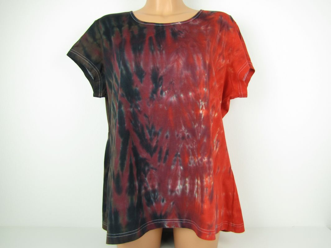Dámské tričko červené 3XL batika