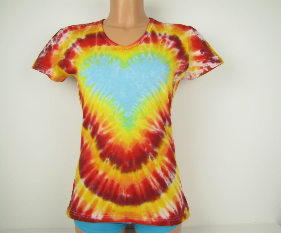 Dámské tričko batika srdce v ohni