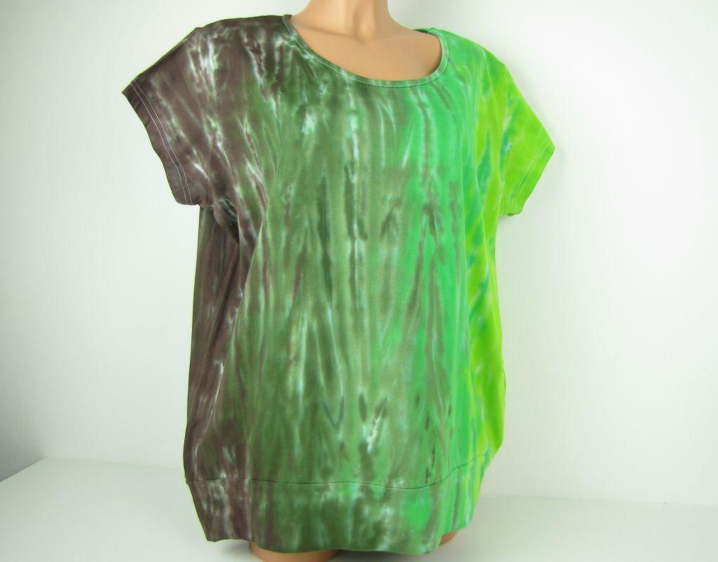 Dámské tričko zelená tunika batika