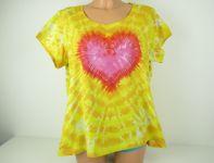 Dámské tričko žluté se srdcem, batika 2XL