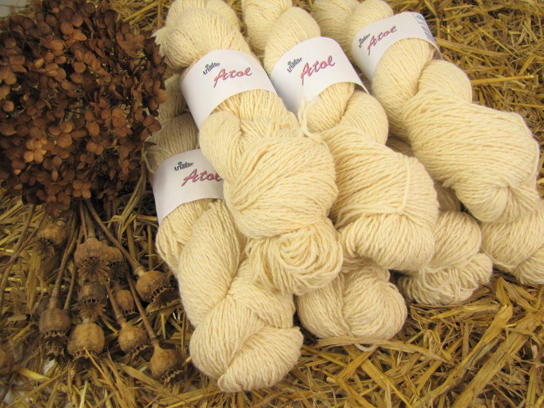 Přírodní příze na domácí barvení vlna + bavlna