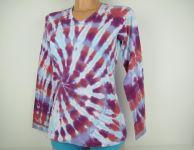 Dámské tričko dlouhý rukáv batika Pink blankyt, M