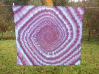 PAREO šátek velký batika SPIRÁLA AMETYST, 140x120cm