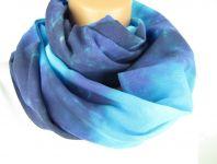 Modrý šátek tunel na krk batika